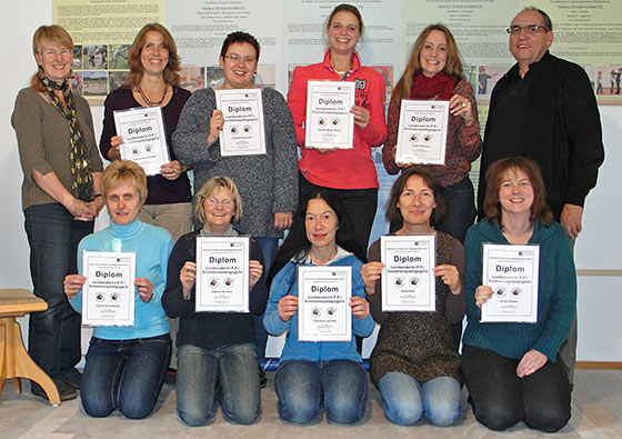 Erfolgreiche Lernberaterinnen mit ihrem Abschlusszertifikat